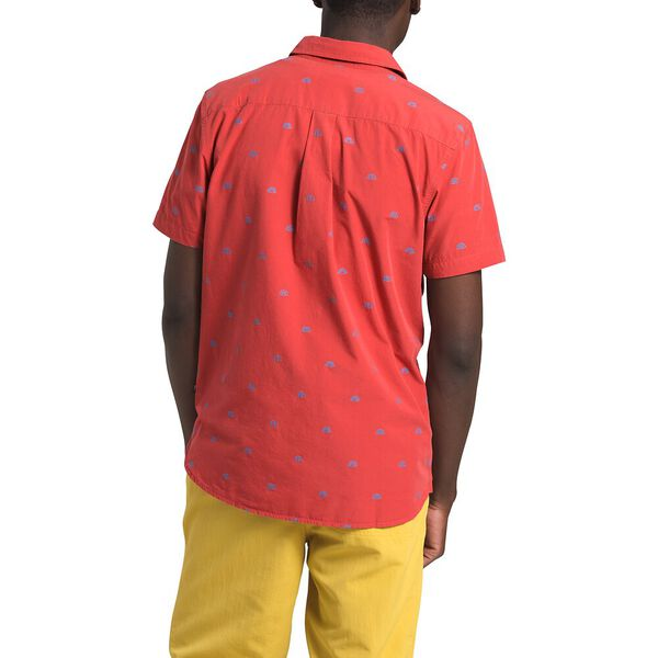 Men's Short-Sleeve Baytrail Jacq Shirt, SUNBAKED RED NORTH STAR CLIP JACQUARD, hi-res