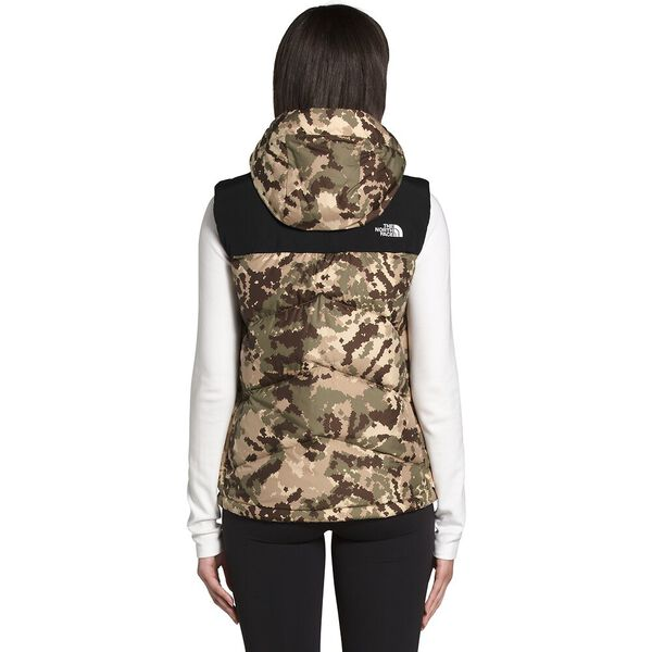 Women's Balham Down Vest, BURNT OLIVE GREEN DIGI TOPO PRINT, hi-res