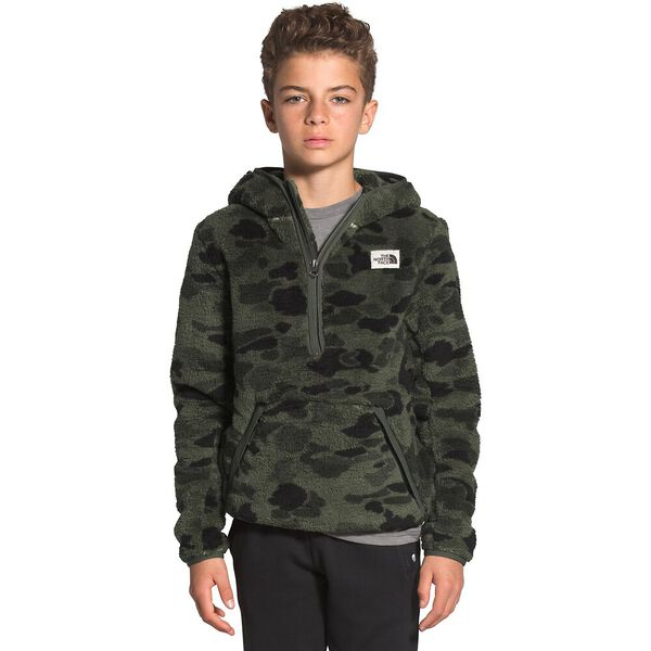 Boys' Campshire Hoodie, NEW TAUPE GREEN DUCK CAMO PRINT, hi-res