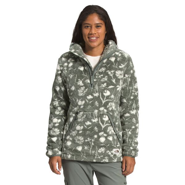 Women's Campshire Fleece Pullover Hoodie 2.0, AGAVE GREEN SUN PRINT, hi-res