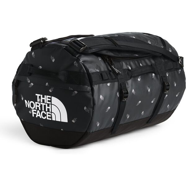 BASE CAMP DUFFEL-S, TNF BLACK TOSSED LOGO PRINT, hi-res