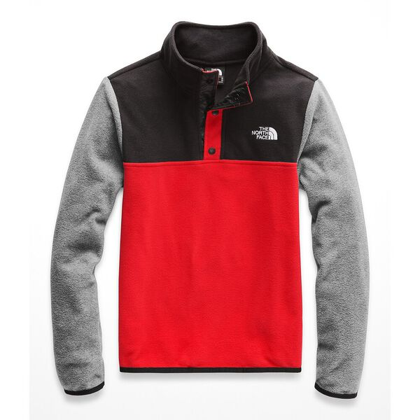 BOYS' GLACIER ¼ SNAP, FIERY RED/TNF BLACK, hi-res