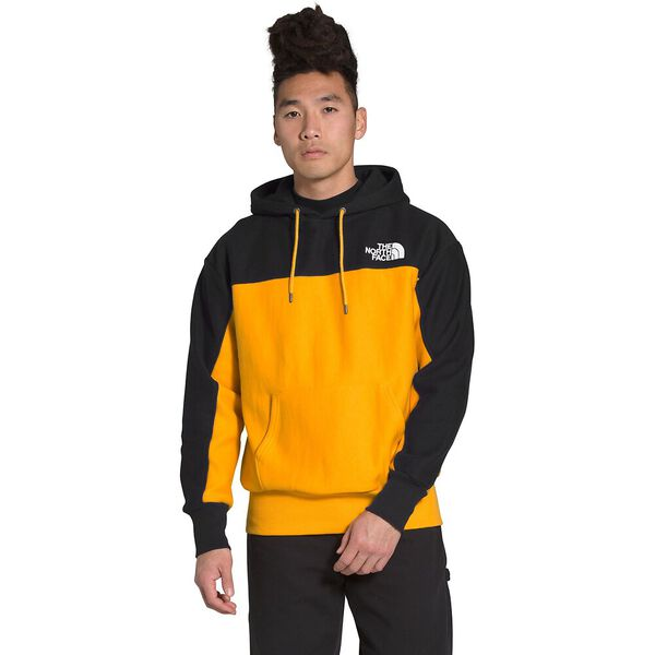 Men's Heavyweight Reverse-Weave Pullover Hoodie, TNF BLACK/SUMMIT GOLD, hi-res