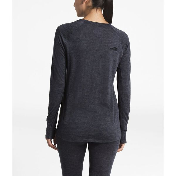 WOMEN'S WOOL BASELAYER LONG-SLEEVE CREW NECK, TNF DARK GRY HEATHR (STD), hi-res