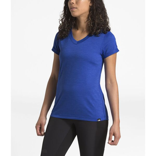 WOMEN'S HYPERLAYER FD SHORT SLEEVE V-NECK, TNF BLUE HEATHER, hi-res