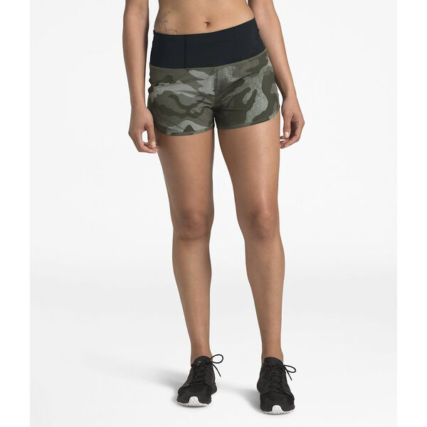 WOMEN'S ESSENTIAL RUN SHORT, NEW TAUPE GREEN WAXED CAMO PRINT, hi-res