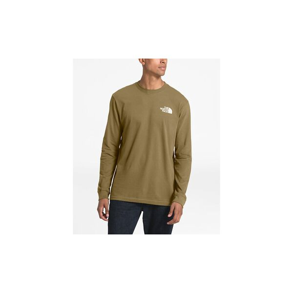 MEN'S LONG-SLEEVE RED BOX TEE, BRITISH KHAKI/TNF BLACK, hi-res