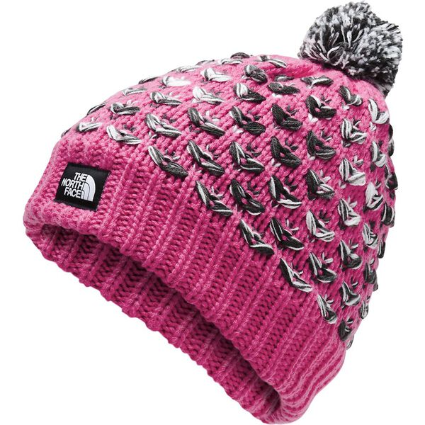 Girls' Chunky Pom Beanie, MR. PINK MULTI, hi-res