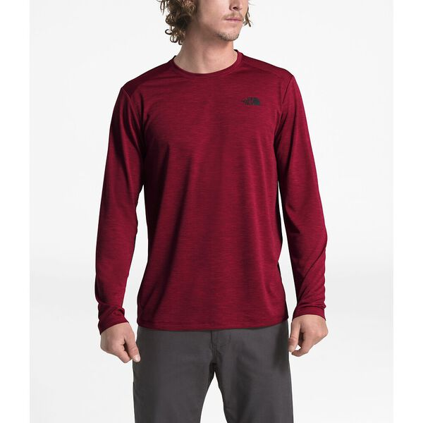 MEN'S HYPERLAYER FD LONG SLEEVE CREW, CARDINAL RED HEATHER, hi-res