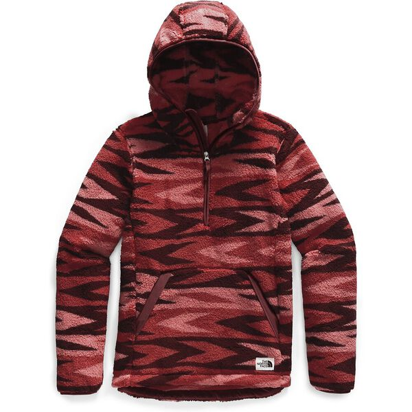 Women's Campshire Fleece Pullover Hoodie 2.0, SUNBAKED RED ARROW STRIPE PRINT/BAROLO RED, hi-res